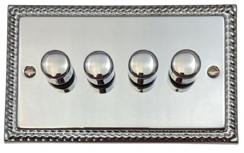 G&H MC14 Monarch Roped Polished Chrome 4 Gang 1 or 2 Way 40-400W Dimmer Switch